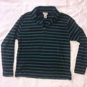 Navy blue and green striped LL Bean pull over